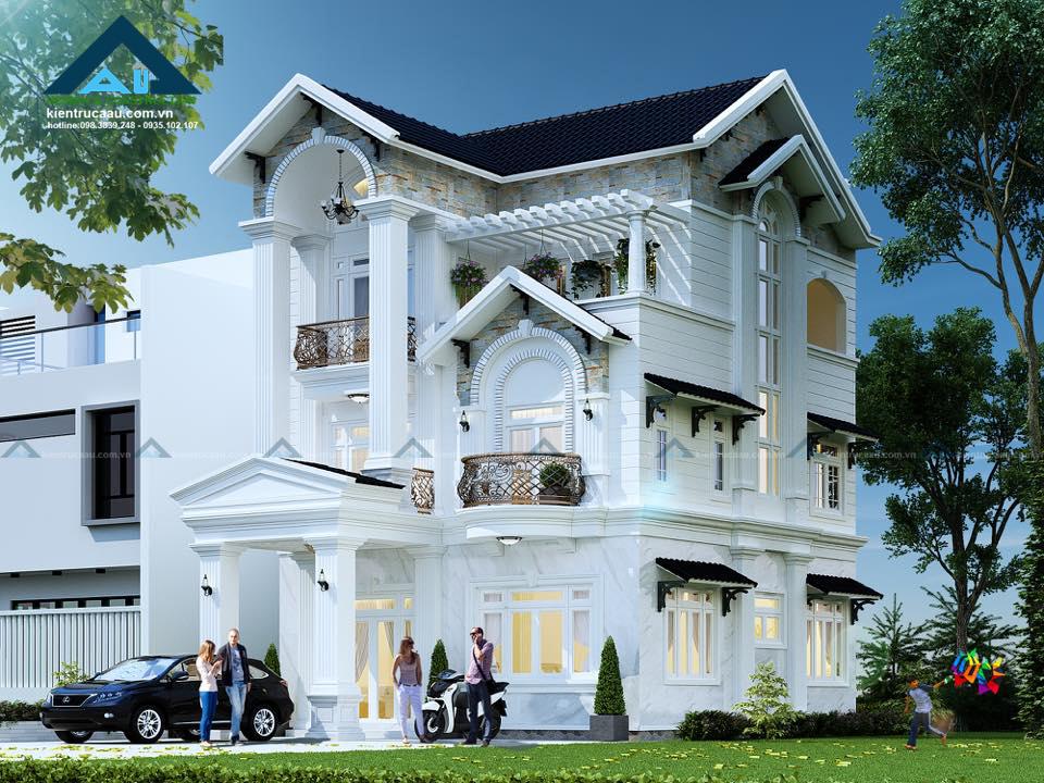 thiết kế biệt thự 3 tầng của kiến trúc á âu