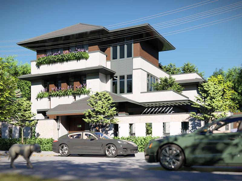 Thiết kế biệt thự 3 tầng hiện đại xu hướng của gia đình trẻ