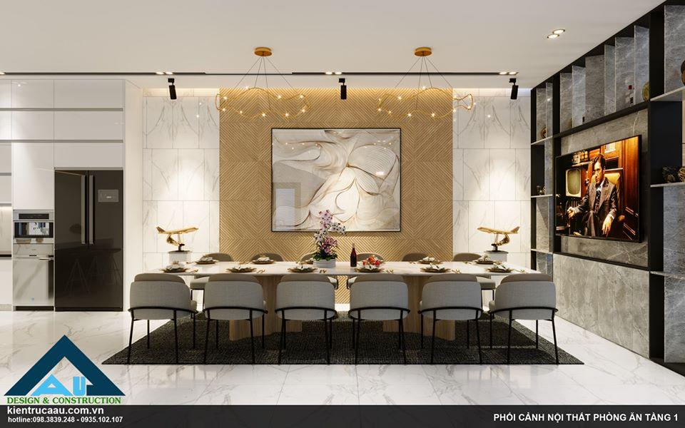 Thiết kế thi công nội thất nhà bếp cho phòng ăn biệt thự