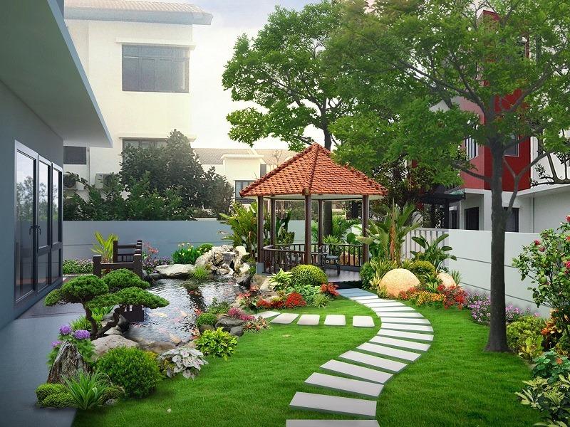 Gợi ý góc sân vườn, tiểu cảnh đẹp cho biệt thự/ Kiến trúc Á Âu
